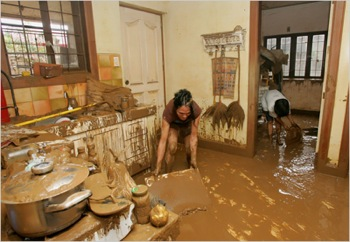 clean up after a flood